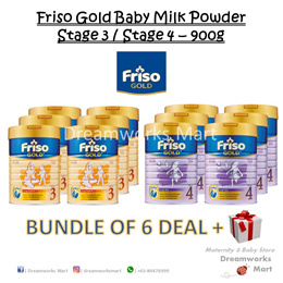 [BUNDLE OF 6 + FREE Gift] Friso Gold Baby Milk Powder 900g Stage 3-4 | Exp: 2020