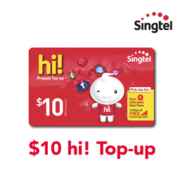 Singtel $10 hi! Top-up