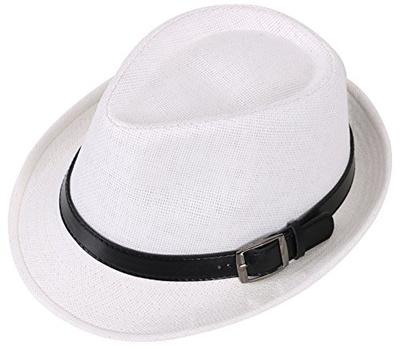 0c25aa974c3f17 EPGU Men Womens Outdoor Structured Straw White Fedora Hat w/PU Leather  Strap, 57cm