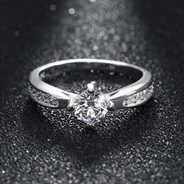 Solitaire Ring with Austrian Crystals and 3-Layer Platinum Plating.