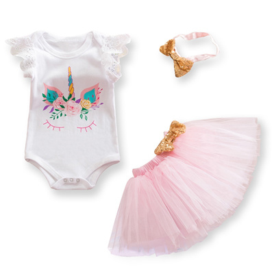 c08c180138eb0 1 Year Birthday Dress Baby Girl Christening Gowns Unicorn Party Dresses  Girls 1st Birthday Clothes I