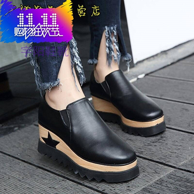 Wedge shoes girl 2017 autumn thick bottom muffin shoes fashion Square Toe  Pump College wind student