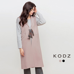KODZ - Tie Front Sleeveless Blazer-6027764-Winter