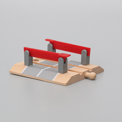 online Hot High Quality Wooden Railway Accessories Railroad Crossing Bridge  Train Slot Track Toys F