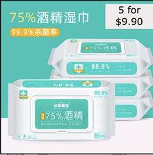 5 x 80pcs 75% Alcohol Wet Wipes Tissue Anti Bacterial Disinfectant Cleaning Hand Sanitizer