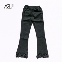 [A2U]Girls  Fit  u0026 Flare Pant with Lace Edge