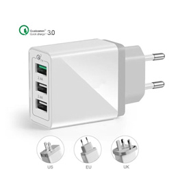 YC-0005 QC 3.0/30W/100-240V/3A/EU AU UK US Plug/3 USB Ports Fast Travel Charger adapter,for iphone6