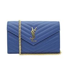 Saint Laurent SAINT LAURENT / YSL C.WALL (153Y) MONO chain wallet # 377828 BOW01 4115 ROYAL BLUE