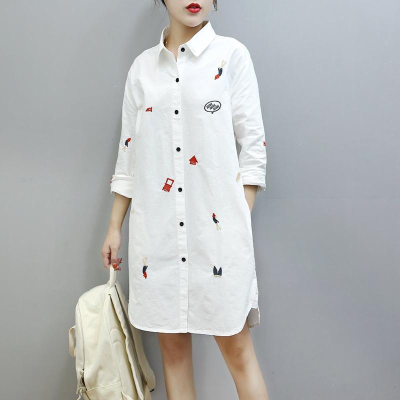 2017  韓国ファッション レディー ス シャツワンピ 人気 長袖 刺繍 シャツ ワンピース  トップス 森ガール系  大人可愛い  上質   AT11871