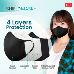 ShieldMask+ Reusable/Washable Adults/Kids Cloth Face Mask/ 4 Layers Protection 1pc MADE IN SINGAPORE