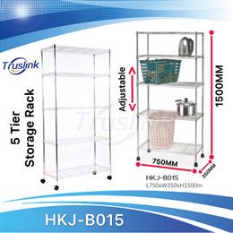 5 Tiers Waterproof Anti-corrosion Height Adjustable Multi-purpose Shelving Unit Storage Organisation