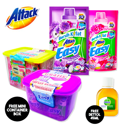 **GRATIS Dettol Shoap/Anti Kuman ||** ATTACK EASY LIQUID 42ml x 24 sachet Deals for only Rp25.000 instead of Rp62.500