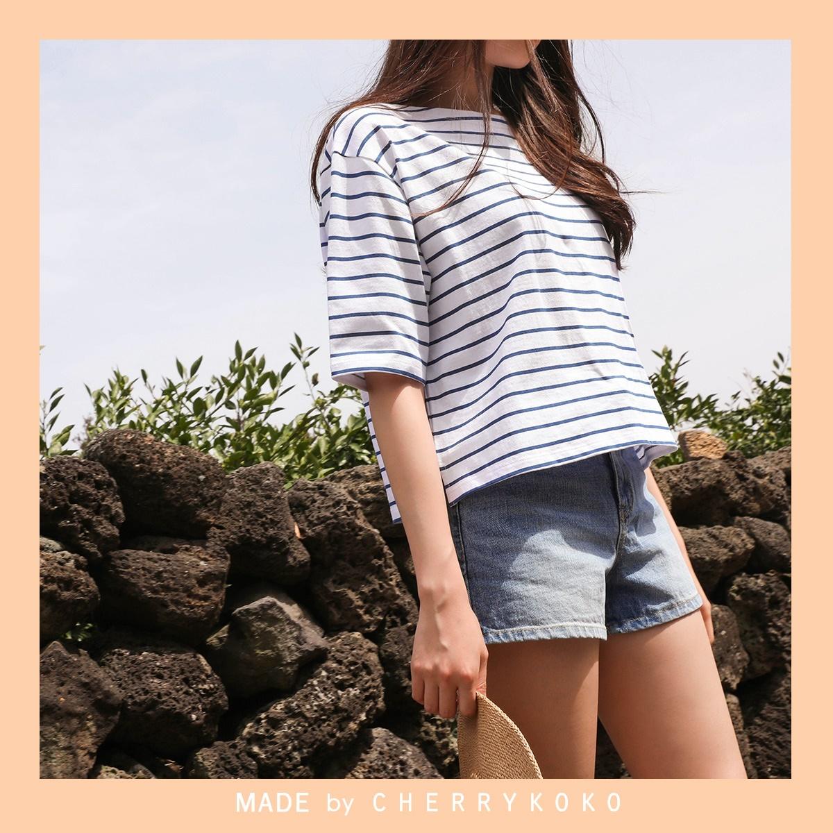 韓國正品 CHERRYKOKO 韓國流行夏季條紋 vareta短袖T恤