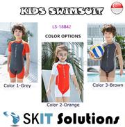 3ead07b085f37 KIDS Swimsuit ☆ LS-18842 Short Sleeve Swimming Costume Wear Suit ☆Cap  Included☆