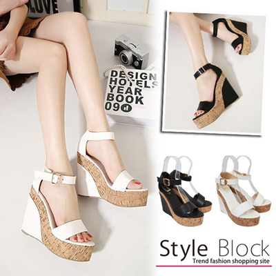 Sandal wedge sole summer thick base platform sandals ankle strap belt 13 cm heel high heel