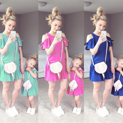 b9e2a4ccdac4 New Family Clothes Lady s Mother Daughter Matching Summer Baby Girl Dress  Outfit G