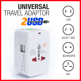 DUAL USB PORT ♥Universal Travel Adapter ♥ AC power Adapter ♥ AU UK US EU FOR More than 150 Countries