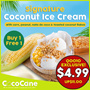 [CocoCane] 1+1 Thai Coconut Ice Cream / Pre-Cut Thai Coconut Drinks | Direct from Thailand