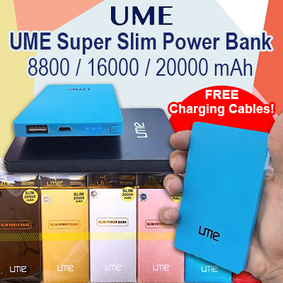 [ FREE CHARGING CABLE ] Super Slim Power Bank 8800 / 16000 / 20000 mAh. Deals for only S$19.9 instead of S$0