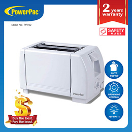 PowerPac Bread Toaster 2 Slice (PPT02)