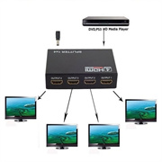 1 in 4 out Full HD 1080P 3D HDMI Splitter 4 Port Hub Repeater Amplifier with US-plug Power Adapter