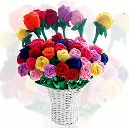 Plush Rose Flower Shape Valentines/Teacher/Children/Mother/ Graduation days Gift