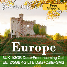 3UK/EE[Europe Sim Card · 30 Days]1/3GB or 2/5GB(4GLTE)Data+Calls/SMS+ Can Activate in SG