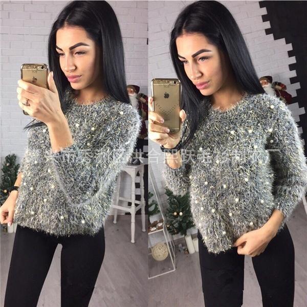 甘いスタイルの新しい女性のファッション秋と冬毛皮の緩いゴールド糸真珠の短いMohairソフトニット