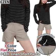 *EZEN* Women Casual / Linen Short Banding Pants / Plus Size / S~XXL / Shorts Pants / Elastic