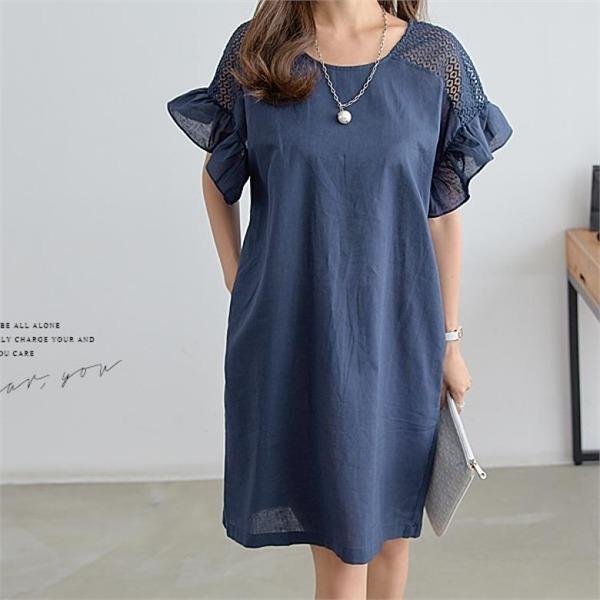 ペッパーレース・ショルダーフリルのワンピース34726 new プリントワンピース/ワンピース/韓国ファッション