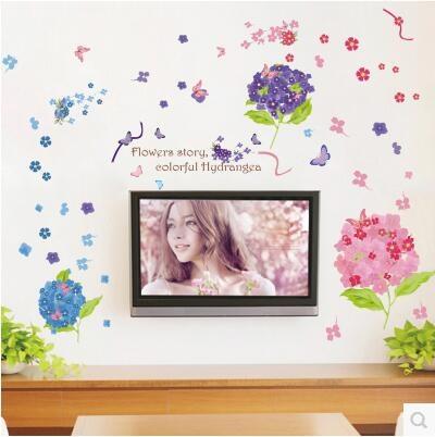 Hydrangea Self Adhesive Wall Stickers Bedroom Room Living Room Tv Creative Decoration