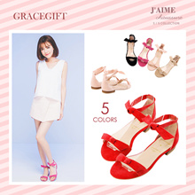 [Free Gift!!] Gracegift-Classic CN Pinklable Bow Strap Sandals/Women/Ladies/Girls Shoes/Taiwan Fashi
