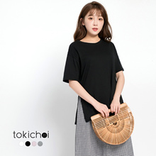 TOKICHOI - Oversized Tee with Slit Cutouts-170989
