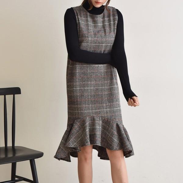 【韓国ファッション/レディースファッション】チェックワンピース/韓国 ワンピース/冬ファッション/冬服 _233423