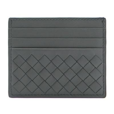 2892e33d635db [BOTTEGA VENETA] Light Gray Intrecciato 162150 V001N 8522 Unisex Business Card  Holder Wallet