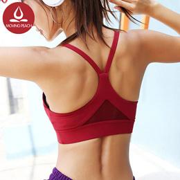 【Moving Peach】运动内衣美背肩带网纱拼接透气瑜伽内衣健身跑步文胸