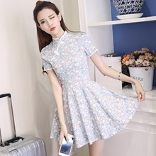 Self-cultivation Spring Improved version cheongsam dress girl fashion daily short short retro wind s