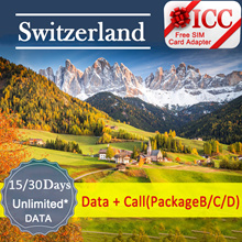 ◆ ICC◆【Switzerland· 15/30 Days】❤ 4G LTE/3G + Unlimited data + call ( NEED TOP-UP)