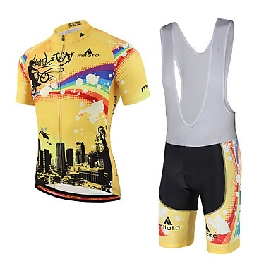 Miloto Cycling Jersey with Bib Shorts Unisex Short Sleeves Bike Bib Tights  Jersey Compression 3D Pad a61ad68a0