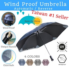[Taiwan #1 Seller] Wind Proof Automatic Reverse Umbrella can stand strong wind Unique Handle Hook