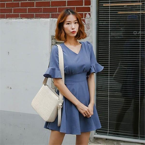 174プランジュフリル小売ワンピースnew 無地ワンピース/ワンピース/韓国ファッション
