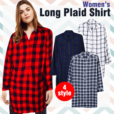 New Collection Branded Women Short and Long Plaid Shirt / 4 Style / Good Quality Deals for only Rp65.000 instead of Rp90.278