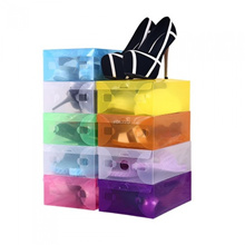 Plastic Clear Foldable Shoes Sundries Storage Stackable Rack Box Organizer Case