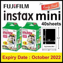 Plain Twin Pack Instax Mini Film 20 Sheets(Ready to use Instax Film for Mini 8/9/25/70/90/SP1/SP2)