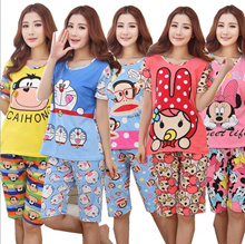 Women sleepwear girl pyjamas summer lady sleepwear cute and lovely pajamas set top and bottom set
