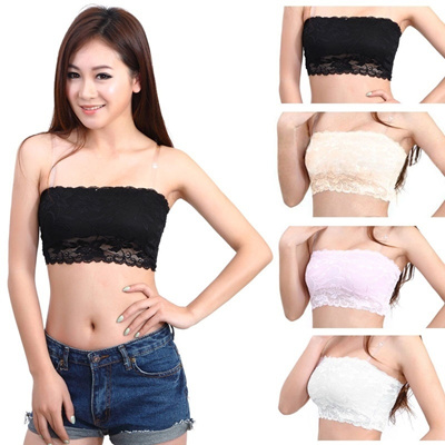 be26a8ac4d Womens Sexy Lace Casual Crop Boob Tube Top Bandeau Bra Strapless Seamless  Solid(Fit Bust