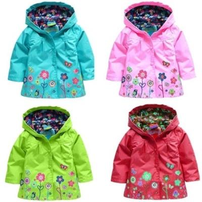 Cute Kids Children Girls New Flowers Hooded Waterproof Windproof Raincoat Jacket
