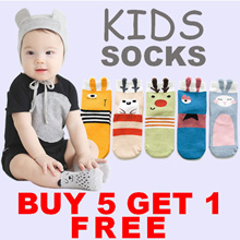 11.11 NEW !! Buy 5 Free 1 Promotion !! - Cute Anti-Slip Socks for Baby/Kid - Mommy Size Available
