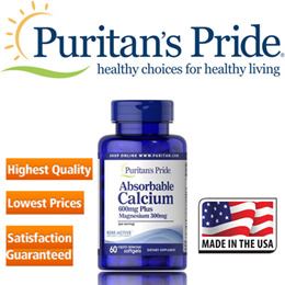 Puritans Pride Absorbable Calcium 600 mg plus Magnesium 300 mg / 60 Softgels