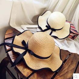 Summer sun hat straw hat travel big eaves beach hat bow